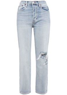 Re/done Woman Cropped Frayed Mid-rise Straight-leg Jeans Light Denim