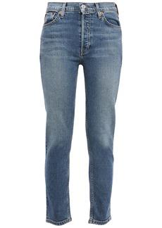 Re/done Woman Cropped High-rise Slim-leg Jeans Blue