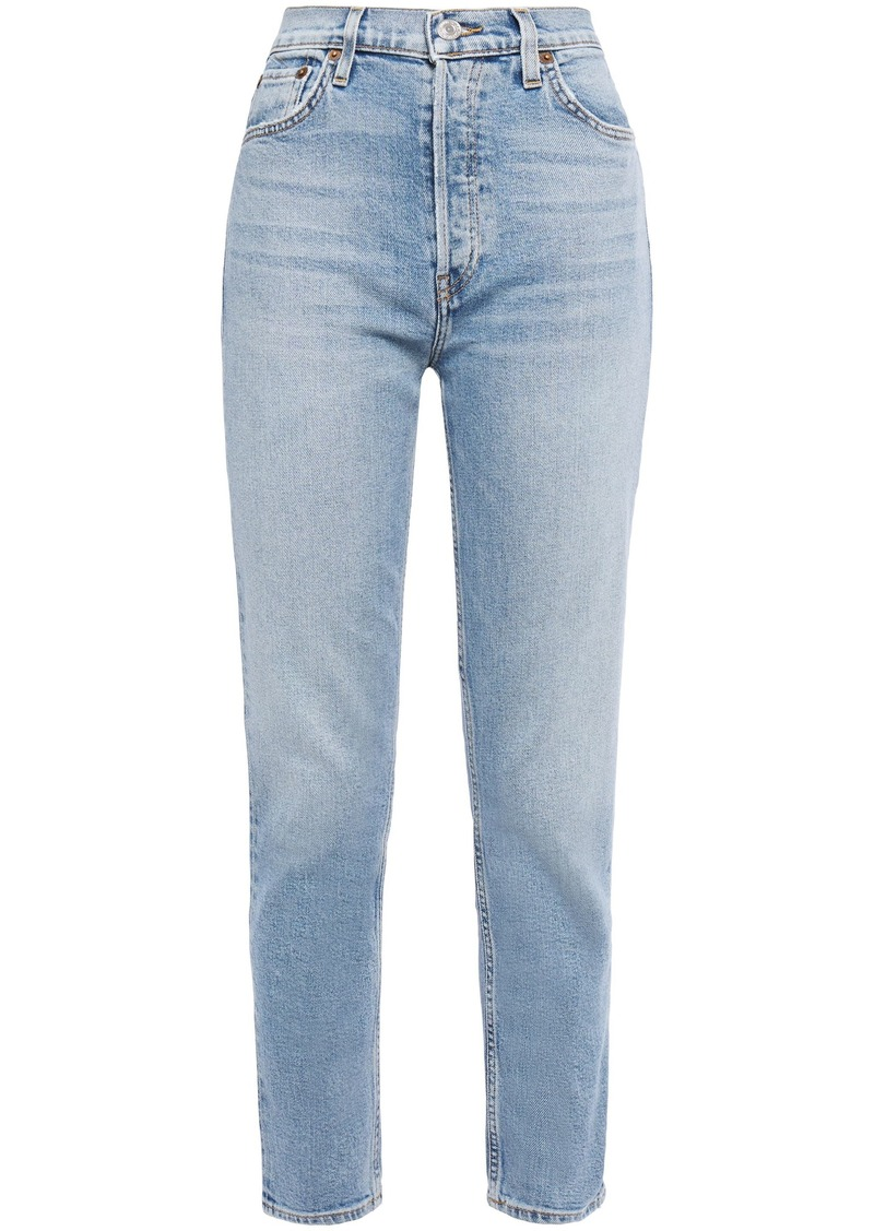 Re/done Woman Cropped High-rise Slim-leg Jeans Light Blue