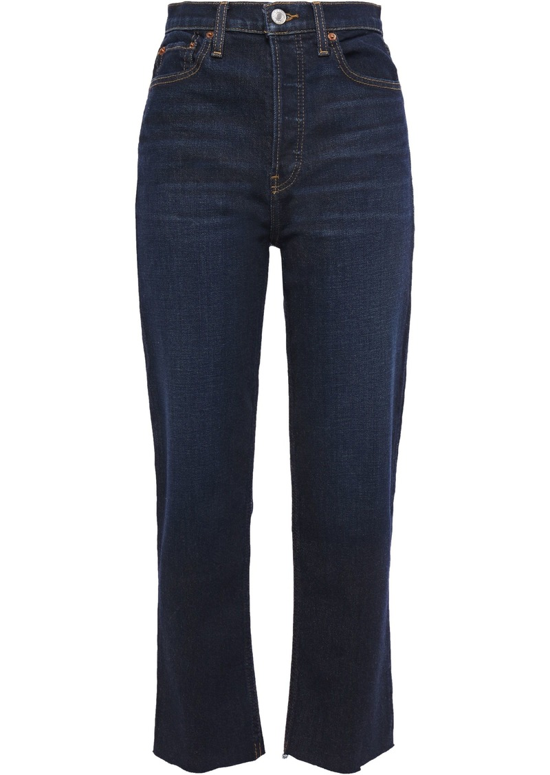Re/done Woman Cropped High-rise Straight-leg Jeans Dark Denim