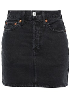 Re/done Woman Denim Mini Skirt Black