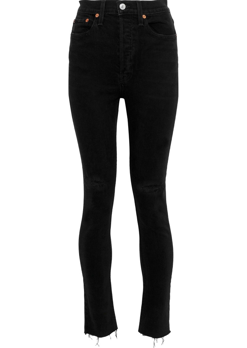 Re/done Woman Distressed High-rise Skinny Jeans Black