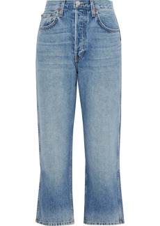 Re/done Woman Distressed High-rise Straight-leg Jeans Light Blue