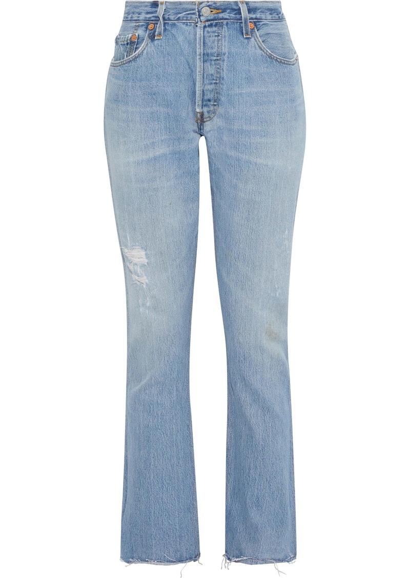 Re/done Woman Distressed High-rise Straight-leg Jeans Light Denim