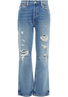 Re/done Woman Distressed High-rise Straight-leg Jeans Mid Denim