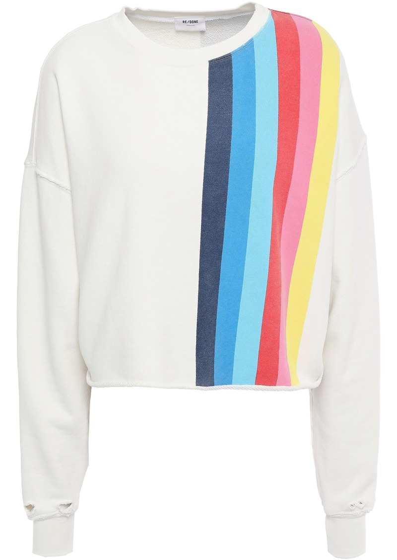 Re/done Woman Distressed Printed French Cotton-terry Sweatshirt Ivory