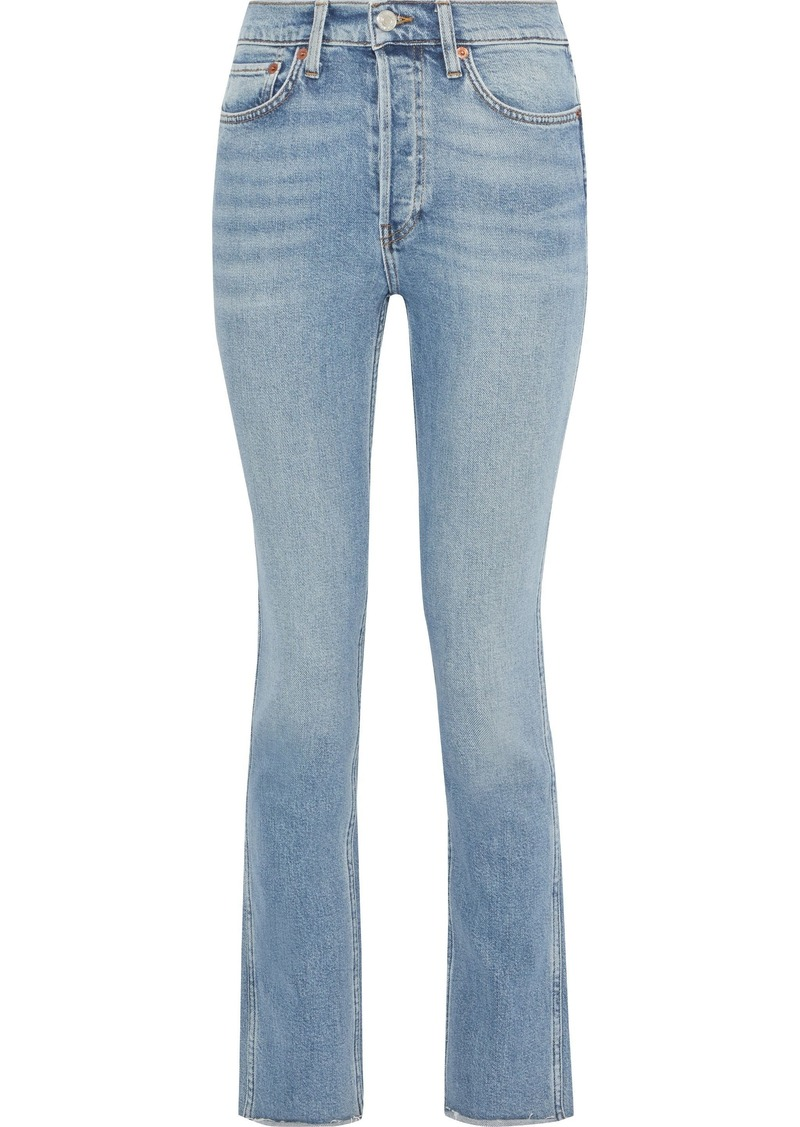 Re/done Woman Double Needle High-rise Slim-leg Jeans Light Denim