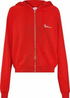 Re/done Woman Embroidered French Cotton-terry Hoodie Red