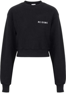Re/done Woman Embroidered French Cotton-terry Sweatshirt Black