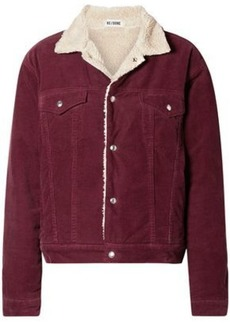 Re/done Woman Faux Shearling-lined Cotton-corduroy Jacket Burgundy