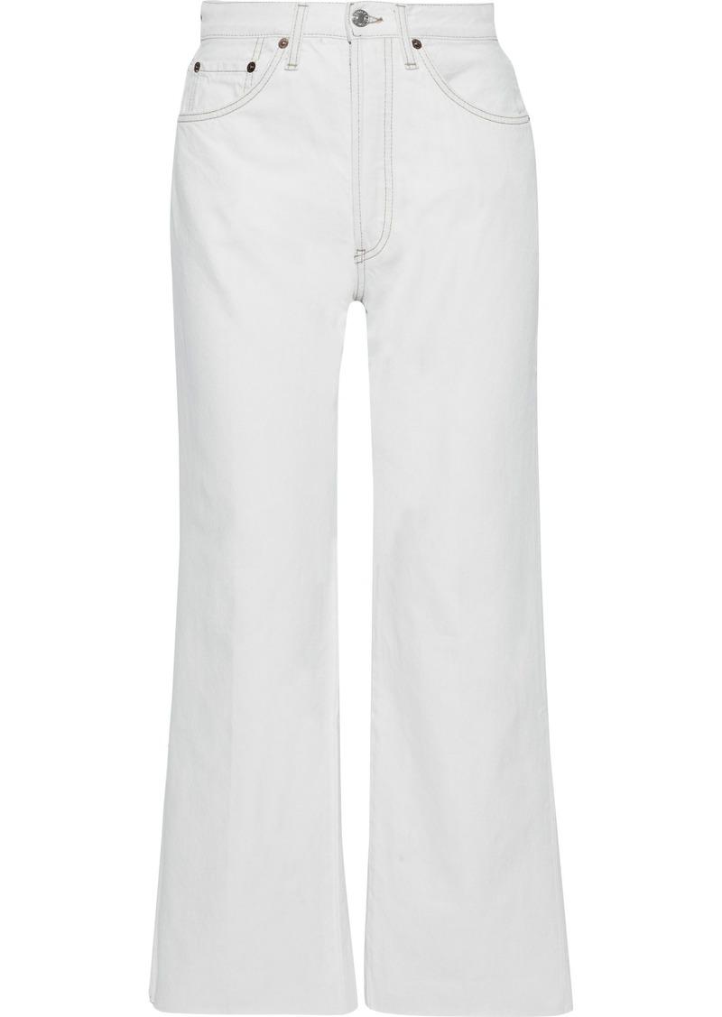 Re/done Woman Frayed High-rise Straight-leg Jeans Light Denim
