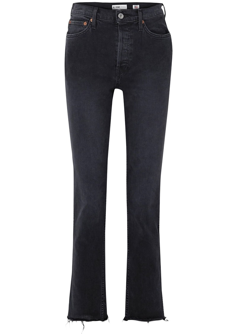 Re/done Woman Frayed Mid-rise Slim-leg Jeans Black