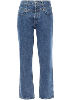 Re/done Woman High-rise Straight-leg Jeans Mid Denim