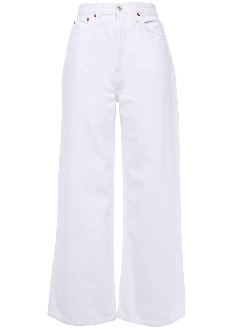 Re/done Woman High-rise Wide-leg Jeans White