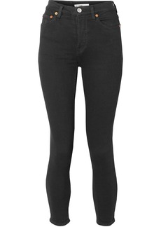 Re/done Woman Originals Ultra Stretch High-rise Ankle Crop Skinny Jeans Black