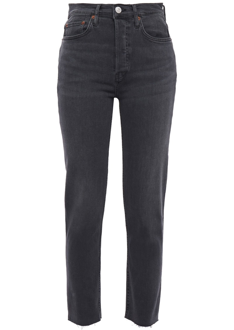 Re/done Woman Originals Ultra Stretch High-rise Skinny Jeans Dark Gray