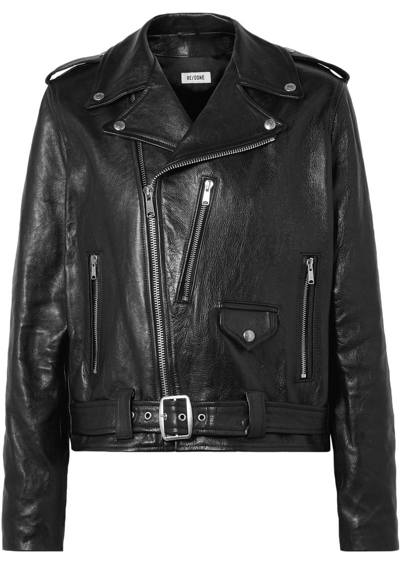 Re/done Woman Leather Biker Jacket Black
