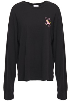 Re/done Woman Printed Cotton-jersey Top Black