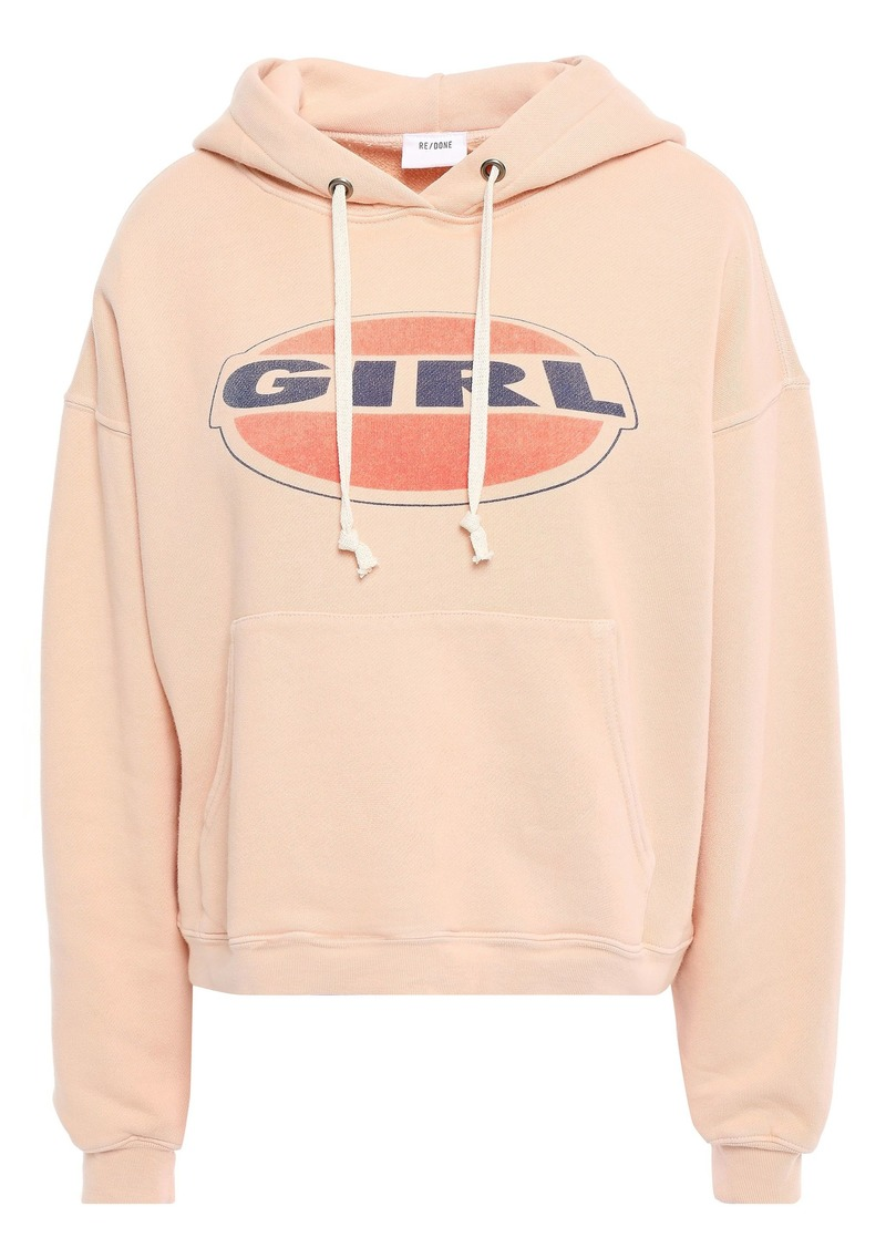 Re/done Woman Printed French Cotton-terry Hooded Sweatshirt Peach