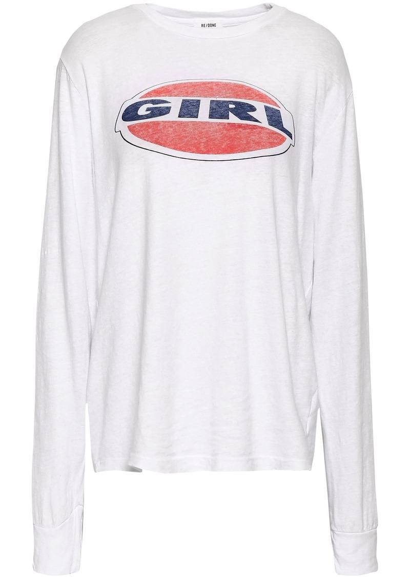Re/done Woman Printed Slub Cotton-jersey Top White