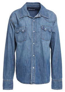 Re/done Woman Sawtooth Snap-detailed Faded Denim Shirt Mid Denim