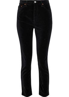 Re/done Woman Stretch-cotton Velvet Skinny Pants Black