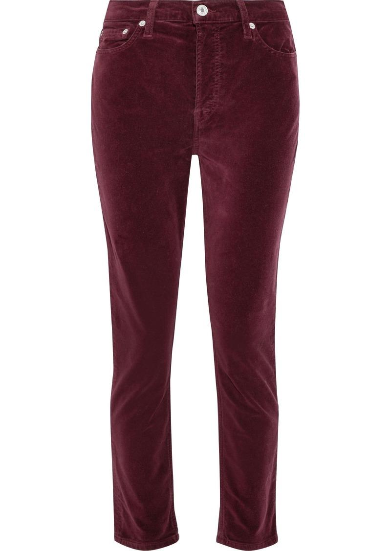 Re/done Woman Stretch-cotton Velvet Skinny Pants Burgundy