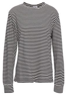 Re/done Woman Striped Cotton-jersey Top Black