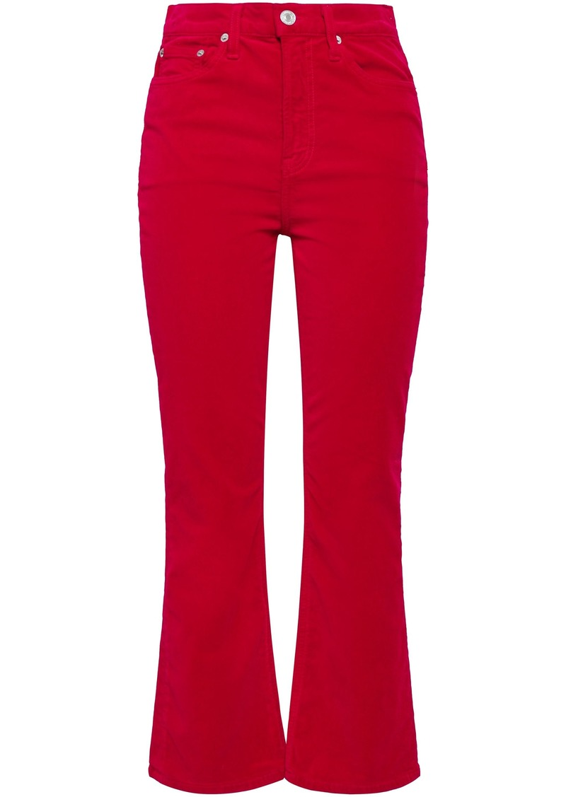 Re/done Woman Velvet Kick-flare Pants Red