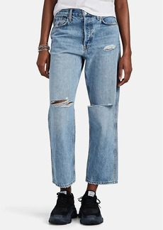 RE/DONE Women's Low Slung Crop Distressed Jeans