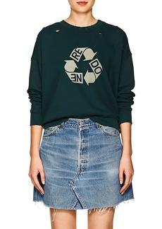 RE/DONE Women's Recycle Logo Distressed Cotton Sweatshirt