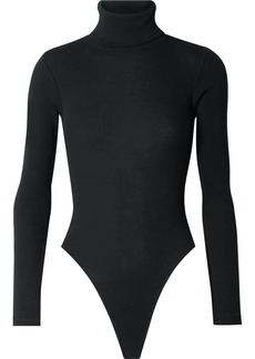 Re/Done Ribbed Stretch-cotton Jersey Turtleneck Thong Bodysuit