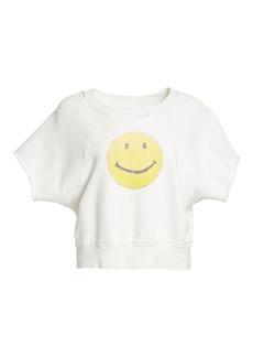 Re/Done The Raw Short Sleeve Smiley Sweatshirt