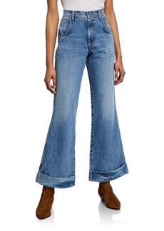 Re/Done The 70s Ultra High-Rise Cuffed Bell Bottom Jeans