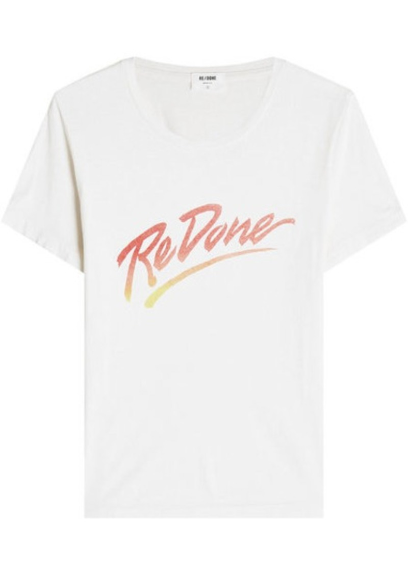 Redone The Classic Tee Printed Cotton T Shirt Now 6300