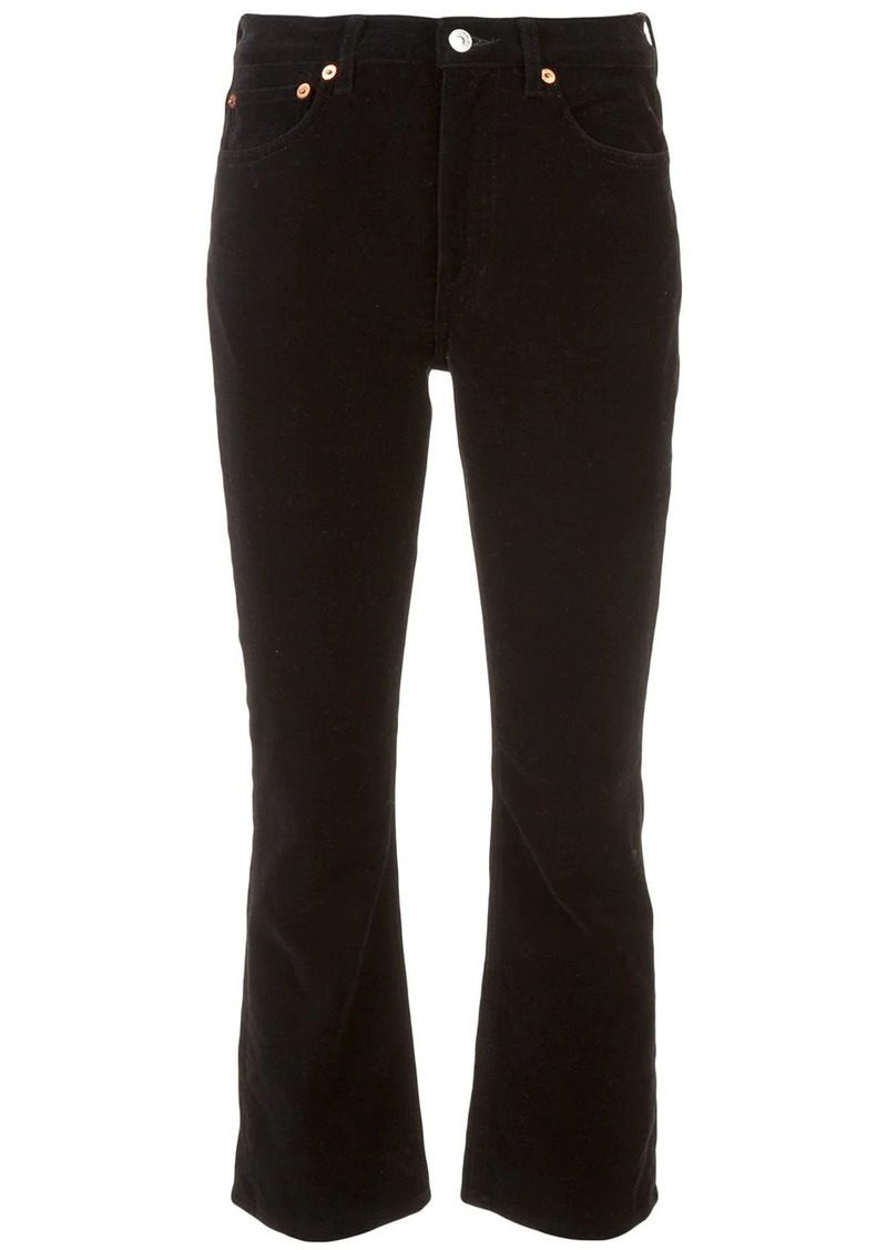 Re/Done velvet kick flare cropped trousers