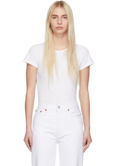 Re/Done White 1960s Slim Tee Bodysuit