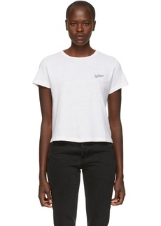 Re/Done White Embroidered Logo T-Shirt