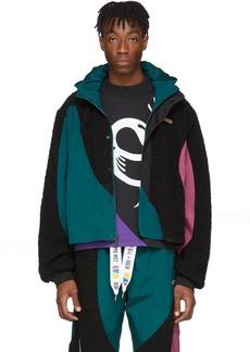 Reebok Black & Green Collection 3 Nylon Windbreaker Jacket