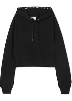 Reebok Cropped Embroidered Cotton-jersey Hoodie
