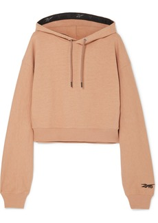 Reebok Cropped Embroidered Loopback Cotton-jersey Hoodie