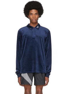 Reebok Navy Velour Vector Long Sleeve Polo