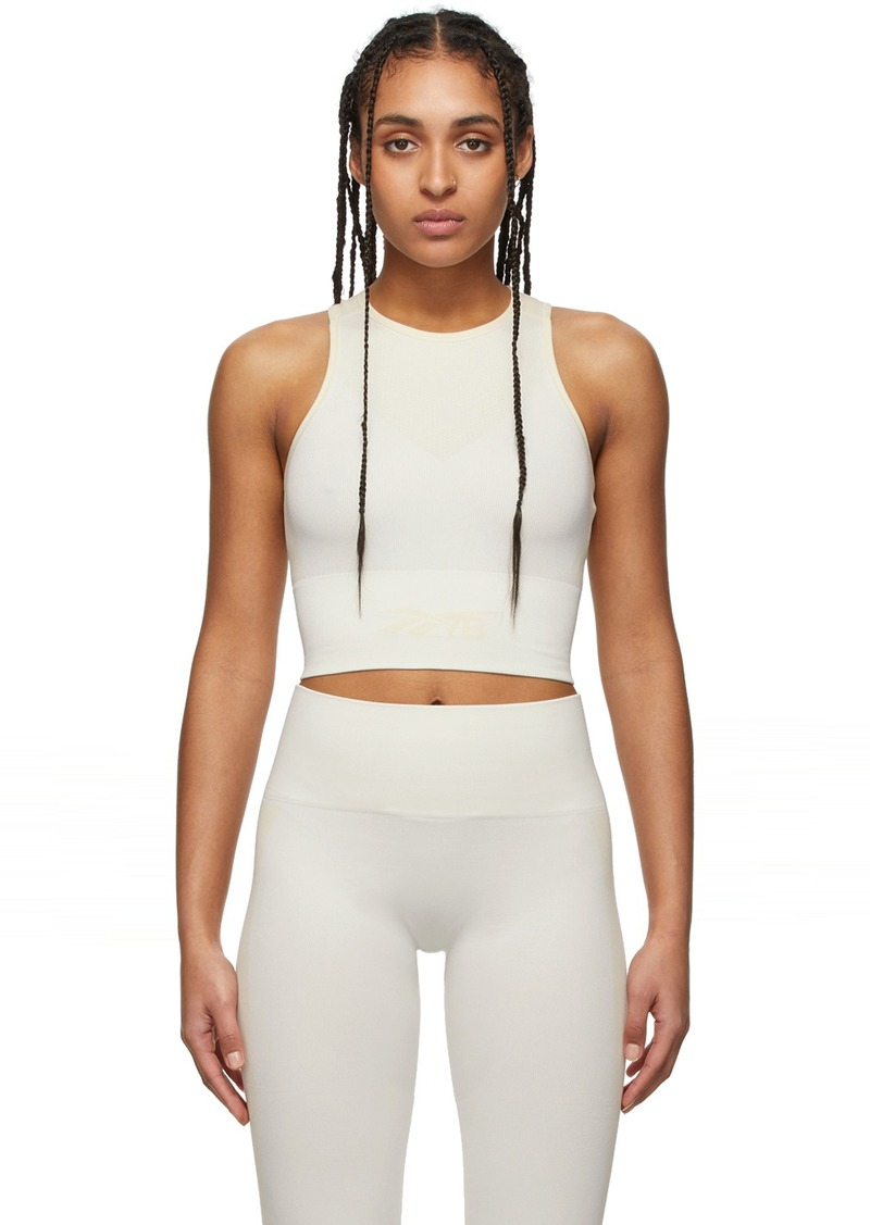 Reebok Off-White & Beige Seamless Cropped Tank Top