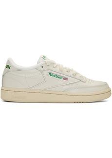 Reebok Off-White & Green Club C 85 Vintage Sneakers