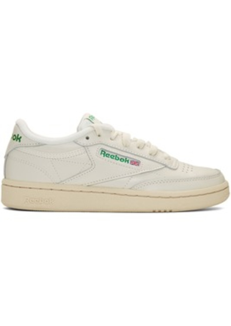 Reebok Off-White & Green Club C 85 Vintage Sneakers
