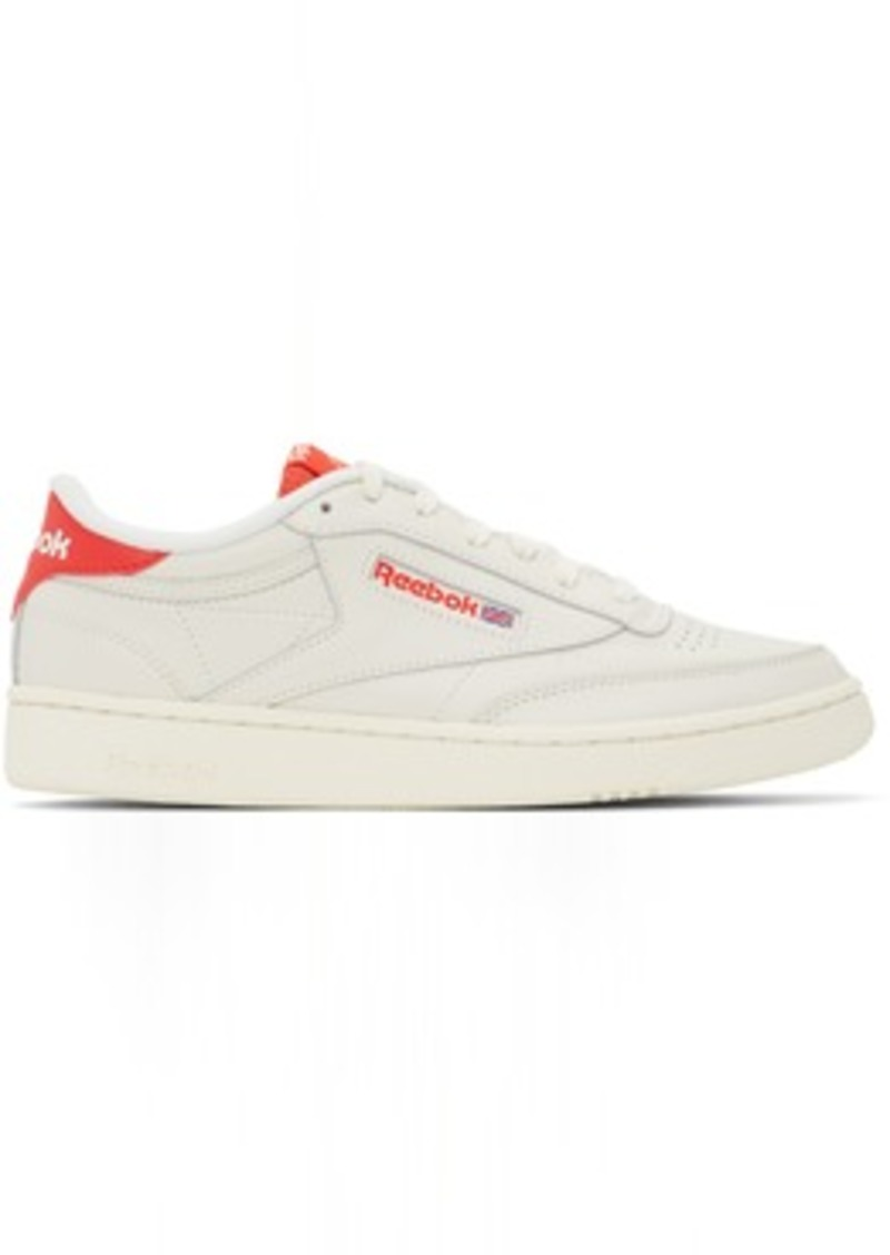 Reebok Off-White & Red Club C 85 Sneakers
