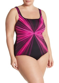 Reebok Pink Dimension One-Piece Swimsuit (Plus Size)