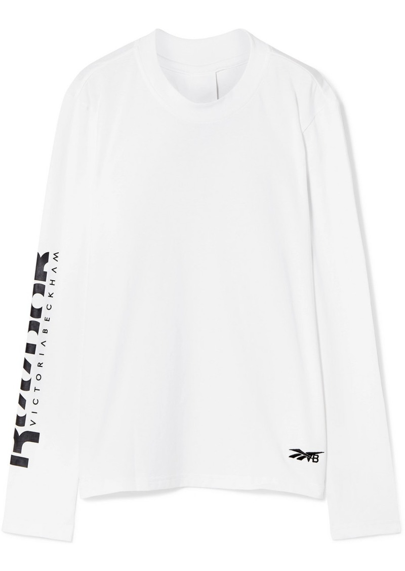 Reebok Printed Embroidered Cotton-jersey Top