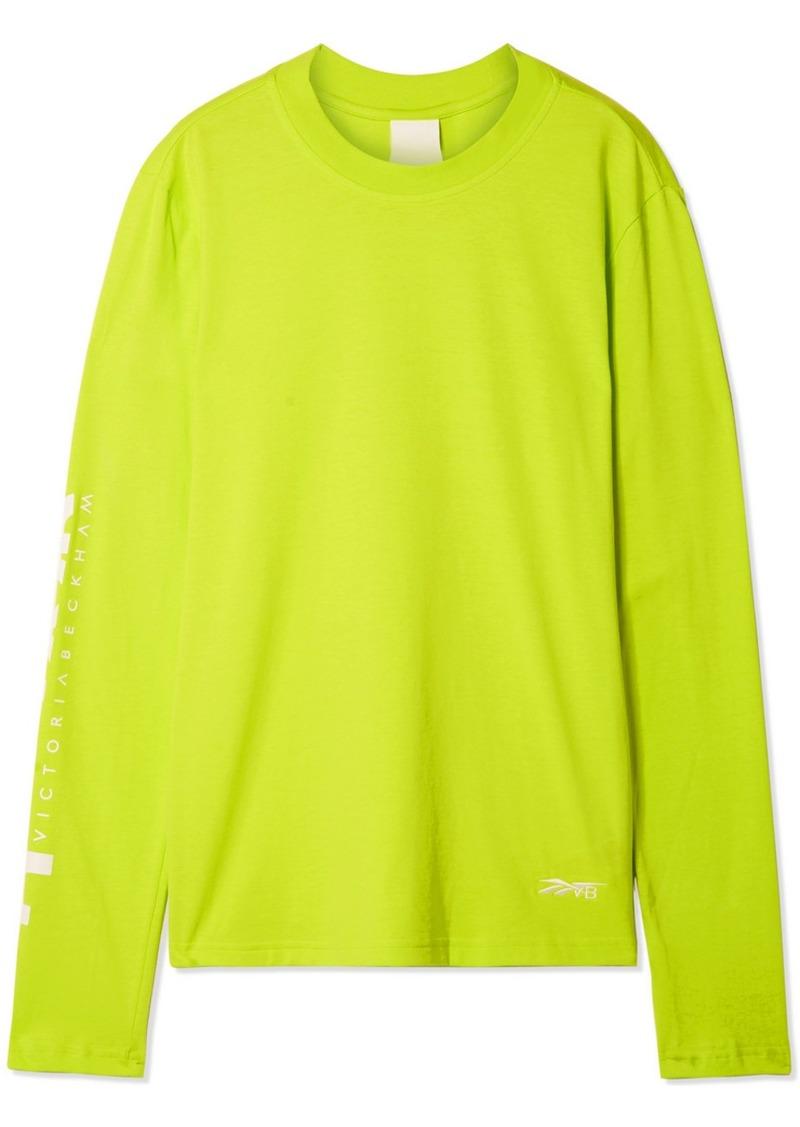 Reebok Printed Neon Cotton-jersey Top