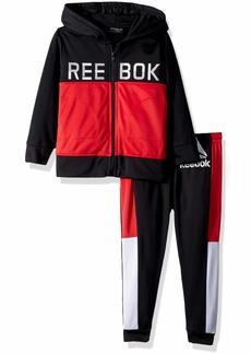 Reebok Boys' Little Color Block Tricot Hooded Jacket and Jog Pant True red